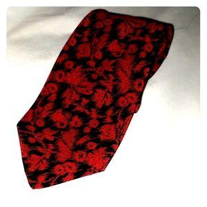 Ungaro Red & Black Leaf Tie